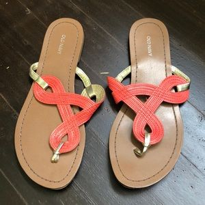 Old navy coral and gold flip flops size 6